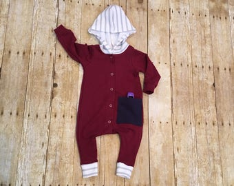 Baby romper // burgundy romper // fall romper // gender neutral outfit // baby outfit // baby gift // coming home outfit