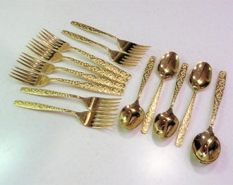 Vintage Gold Plate Flatware ...Partial Set Americana Golden Heritage Pattern ...3 Piece Place Setting ...Service for 4