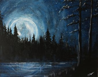 Moonlit night at the lake - starry night - wall art- painting by U.S. artist Greg Gilreath
