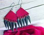 Cherry Red Patent Leather Earrings with Antique Brass Charms (small)