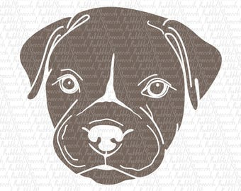 Pit bull Puppy Dark Svg Clipart, Dog Ai vector art by SpeecchBubble