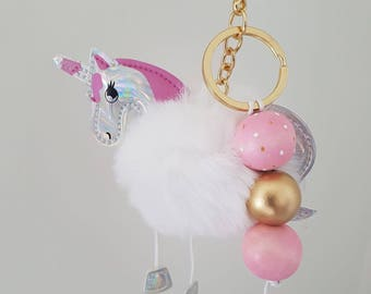 Fluffy Wooden Bead Unicorn Keyring
