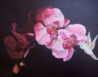 Acrylic painting of a musical Orchid