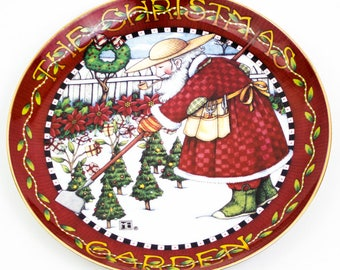 "Mary Engelbreit ""The Christmas Garden"" Santa porcelain plate"
