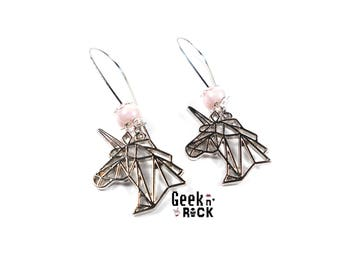 Pearly pastel origami Unicorn earrings
