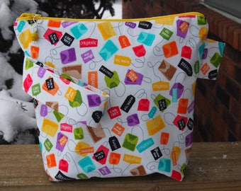 Tea Lovers Zippered Pouch Knitting Project Bag/ Pockets