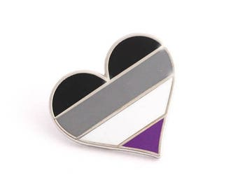 SALE-PRIDE MONTH Asexual pride pin, asexuality lapel pin, Asexual flag pin, heart enamel pin, gay decoration, ace community