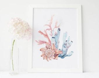 Coral art, Marine wall decor, Coral painting, Watercolor Print, Underwater, Watercolor poster, Digital art, Bathroom decor, Bathroom art