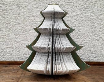 recycled book christmas tree book christmas ornament book art tree paper decoration - Christmas Tree Book