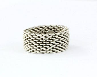 Unique Tiffany & Co Sterling Silver Somerset Mesh Ring Size 6.5 - 7 Mint Condition! Like New!