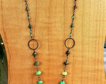 chrysoprase/ brass necklace/vintage turquoise/moss agate