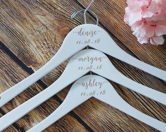 White Wedding Dress Hanger, Personalized Dress Hanger, Bridesmaid Hangers, Bridal Party Hangers, Wooden Hangers, Custom Bridesmaid Hangers