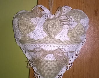 Decoration heart.Heart of lace.Vintage heart.Gift for Christmas.