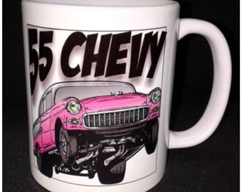55 Chevy Mug, Red 55 Chevy, Drag Racer, Hot Rod, Custom Car Coffee Mug, Street Rod, Roadster