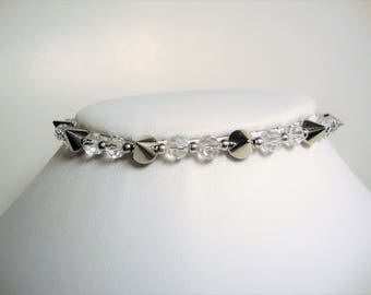Spiked Choker, Beaded Chokers,Industrial Jewelry, Goth Jewelry, Bridal Jewelry, Chokers, Fashion Jewelry,Silver Spiked Jewelry,Bridal Choker