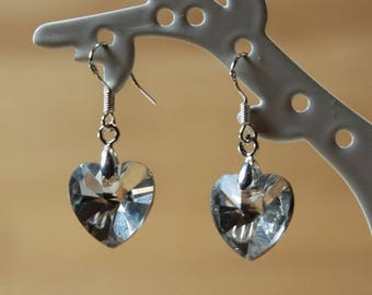 Silver heart with white crystal earrings