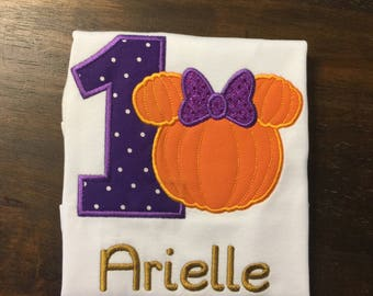 Minnie Pumpkin First 1st Birthday Shirt Onesie // Disney Halloween Thanksgiving Shirt Onesie // Minnie Mouse Pumpkin Shirt // Pumpkin Patch