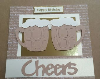 """Handmade Happy Birthday Cheers Beer or Lager Glass Tankard card 6"""" x 6"""" unique & original"""