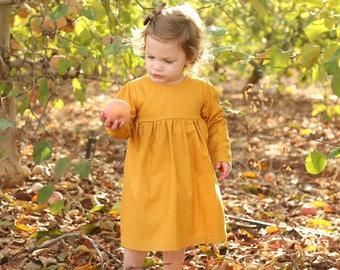 Basic girls dress, baby dress, toddler clothing, Christmas dress, Capsule wardrobe, long sleeve, Mustard, girls dress, layering dress, dress