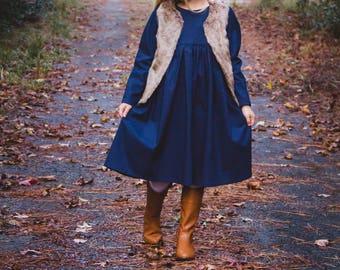 Capsule Dress, baby dress, toddler clothing, Christmas dress, Capsule wardrobe, long sleeve, Mustard, Blue, girls dress, minimal clothing