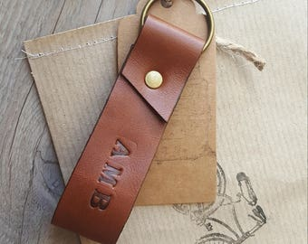 Personalized Leather Keyring, Leather Keychain