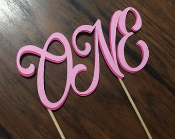"""Dark pink and light pink """"ONE"""" cake topper"""