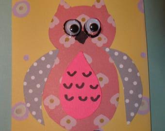 ACEO  OWL ARTIST Trading card  animal mixed media scrapbook