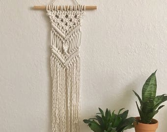 Chevron With a Twist Macramé Wall Hanging // Reversible Bohemian Tapestry // Cotton Rope // Bedroom Wall Art // Office Decor // Boho // Mini