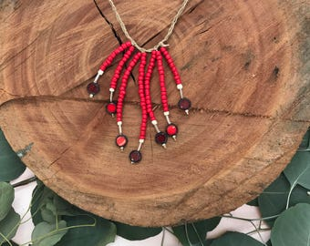 Fiery red beaded necklace