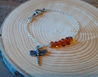 Forest Dragonfly bracelet, sterling silver rolo chain, Amber beads, Tierracast pewter dragonfly charm, Inspirational gift, Valentine gift