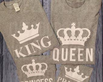 Family Shirts Set King Queen Prince Princess Grey White Design Matching Royal