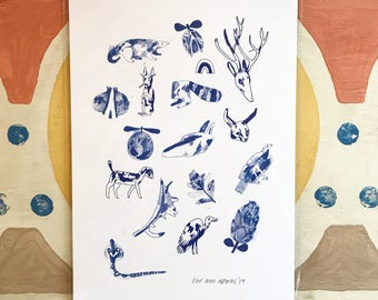 A4 Print - All My Friends (Blue)