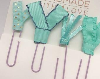 Aqua Polka Dot Mint Green Glitter Boho Planner Clips School Supplies Ribbon Paper Clips Back to School or Bookmarks Planner Accessori