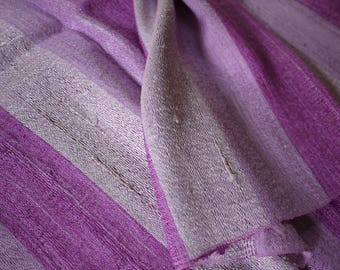 Traditional handwoven silk textile - asian tribal silk textile - handwoven traditional Thai scarf silk weaving -shades of purple