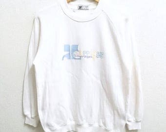 RARE!!! Courreges Big Logo Embroidery Multicolour SpellOut White Colour Sweatshirts Hip Hop Swag M Size