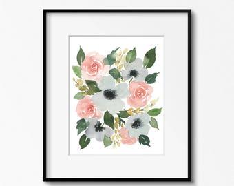 Blue Pink Floral 8x10 Original Watercolor