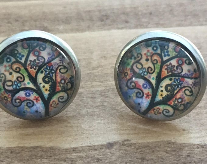 Stud Earrings small trees - Stud Earrings - glass cabochon earrings - stainless steel.