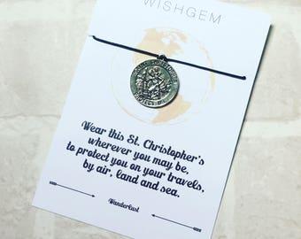 St Christopher Safe Travel wish bracelet Wanderlust