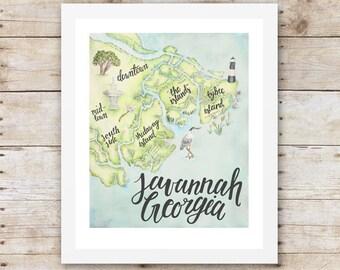 "Savannah Georgia Illustrated Map 13"" x 16"" Art Print"
