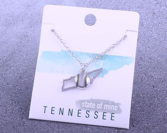Customizable! State of Mine: Tennessee Softball Silver Necklace - Great Softball Gift!
