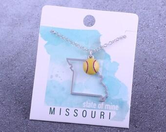 Customizable! State of Mine: Missouri Softball Enamel Necklace - Great Softball Gift!