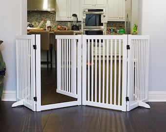 88-Inch Wood Freestanding Pet Gate with Small Door, WSV815-880 WH