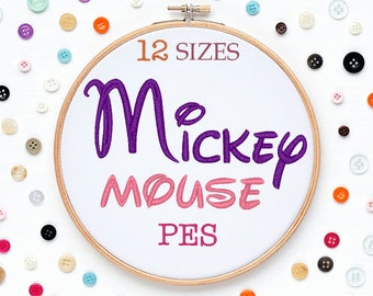 12 Sizes Mickey Mouse Disney Embroidery Font PES Format Embroidery Machine,Initials Monogram,Monogram Design,Instant Download