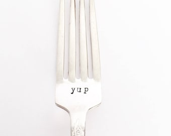 Yup - Hand Stamped & Painted Vintage Silver Fork in Soft Pink