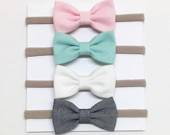 Nylon Baby Headband - Pink White Aqua Chambray - Baby Headband - Clips or headbands