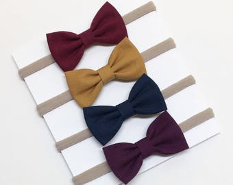Nylon Baby Bows - Wine Gold Navy Eggplant - Baby Bows - Clips or headbands