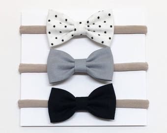 Baby Bow Headbands - Black and White - Bow Headbands - Clips or headbands