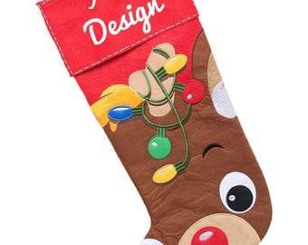 Reindeer/deer stocking/baby stockings/children stockings/Holiday stockings/Christmas Stockings/stockings/Xmas stockings/Christmas decoration