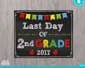 Last Day of Second Grade Sign Instant Download Print Yourself, Last Day of 2nd Grade Chalkboard Sign, Printable Last Day Second Grade Sign