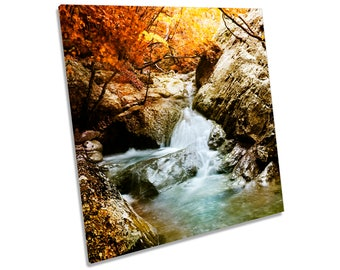 Forest Waterfall River Landscape Orange CANVAS WALL ART Square Print